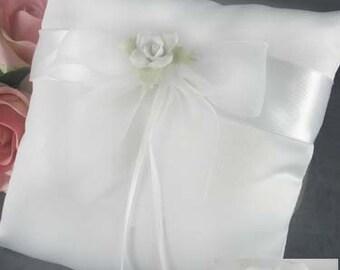 White Rose Wedding Ring Bearer Pillow - 75275