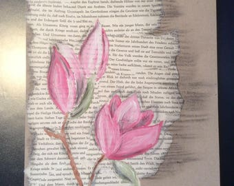 Magnolia, watercolor on old book pages and cardboard