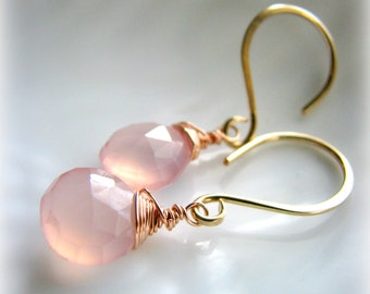 Rosebud Pink Chalcedony Gold Earrings - Gold Filled Rose Filled Dangle Drop Pale Pink Everyday- Gift Girlfriend Sister Mother Daughter Wife