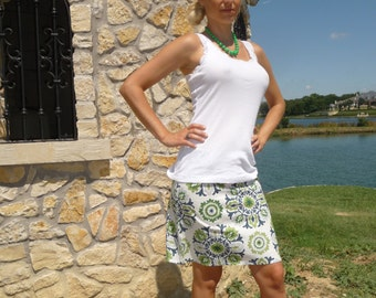 A-line SKIRT - Dear Stella - Ikebana  - Made in ANY Size - Boutique Mia