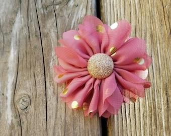 Mauve and Gold, Polka Dot Flower Clip, Girls Hair Clip, Hair Accessory, Wedding Flower, Photo Prop, Gold Polka Dot Flower, Baby Hair Clip