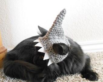 Knit Cat Shark Hat - Crochet Shark Hat for Cats -  Halloween Costume for Cats - Costume for Kittens - Cat Photo Shoot - Cat Lover Gift