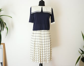 "Vintage Sailor Dress / 80s Japanese Sailor Dress / japan vintage dress / Pleated Midi Dress /  Waist 18""-28"""