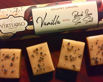 Vanilla Caramel with Hawaiian Black Lava Sea Salt: Gourmet Caramel Bar - 4oz (113g) | Gift