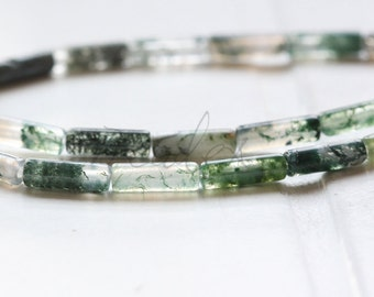 One Full Strand / Moss Agate / Tube / Semiprecious Stone / Gemstone