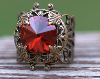 RED RING vintage style. Formal or casual. Womans Size 4, 4.5, 5, 5.5, 6, 6.5, 7, 7.5, 8, 8.5, 9, 9.5, 10 10.5 11 11.5 Prom ring Boho chic