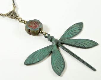 Large Dragonfly Necklace - Patina Dragonfly Necklace, Dragonfly Jewelry, Nature Jewelry, Verdigris Necklace, Patina Jewelry