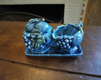 INARCO Blue Mood Indigo Sugar Bowl and Creamer with Fruit Embossed made in Japan #2373 with #3322 Tray