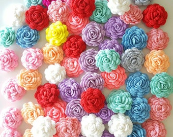12 pcs Small Crochet Flowers Roses Handmade Applique Embellishment in multi-color size 2""