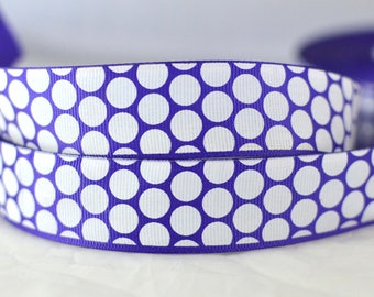 "Purple With White Polka Dots Satin Ribbon 1"" Wide DIY Projects PW1015"
