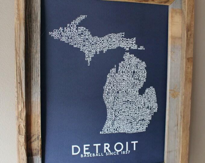Detroit Baseball Word Map (Dark Blue) - Unframed