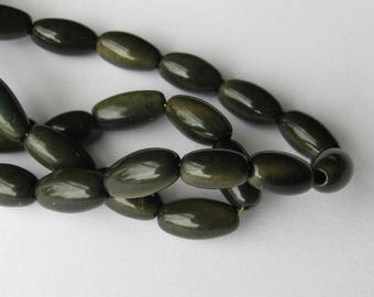 20 Forest Green Tagua Nut Beads, Olive Beads, 8mm Beads, Organic Beads, Natural Beads, Vegetable Ivory Beads, EcoBeads