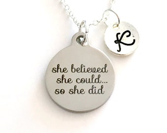 She believed she could so she did necklace, Personalized Monogram Graduation Gift Job Promotion Jewelry, Silver Grad Necklace letter initial