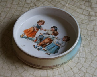 Antique Childs Dish Ring Around the Rosy Marked Germany Missing Blue Paint