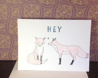 "Fox ""HEY"" Greeting Card"