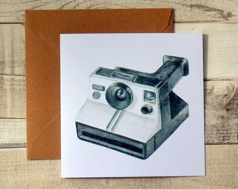 Polaroid Land Camera Greetings Card // Pencil Drawing // Vintage Camera // Blank Card // Illustration