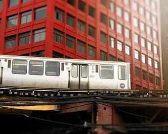 Chicago El Train, CNA Building, Chicago Photography, Skyline Print, Brick Red, Silver, Cityscape Wall art print, Orange Line, CTA Loop Train