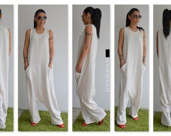 White Jumpsuit, Harem Jumpsuit, Harem Pants, Womens Jumpsuit, Wide Leg Jumpsuit, Jumpsuit Women, Harem Pants Women, Jumpsuit