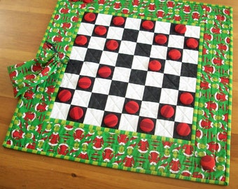 Grinch Checkerboard Game Quilted Gift | Grinch Family Night Checkers Board Game Grinchmas Party Activity | Whoville Grinch Seuss Gift Idea