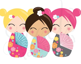 Giant Japanese Kokeshi Party Cutouts-- Instant Download Printable PDF
