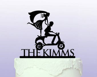Personalised Wedding Moped Cake Topper