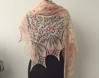 Yellow and pink hand knitted luxurious merino lace shawl