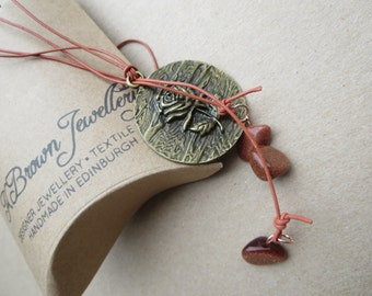 Rose Pendant Lariat, Pendant lariat, Gold Nugget Necklace, Copper Pendant Lariat, Edinburgh Jewellery Designer, Scottish Jewellery, U.K