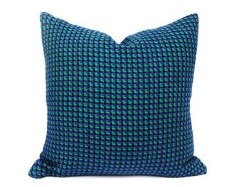 Houndstooth Pillow Covers, Teal Pillows, Sofa Pillows, Blue Green Pillow, Emerald, Violet Blue, Plaid Throw Pillow, Lodge Decor 20x20