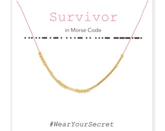 Survivor necklace or bracelet, Unique Gift, secret message necklace, Morse Code, Gifts for Women, Graduation gift, Mother's day