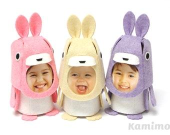 Dieren fotolijstjes Kit voelde kigurumi-konijn (Beige/roze/paars)