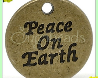 5 Stamped Peace on Earth Antiqued Brass Word Charms PB74