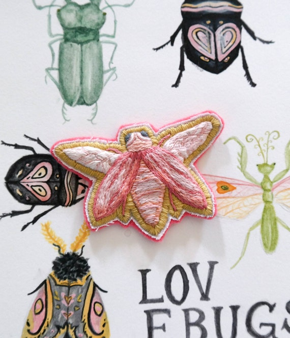 Pink Lovebug Hand-Embroidered Patch (SOLD OUT)