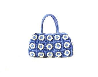 Flower crochet bag bohemian purse  hippie flower bag boho crochet purse blue crochet bag hippie bag crochet summer bag eco friendly bag