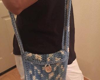 Cute crocheted blue and beige purse
