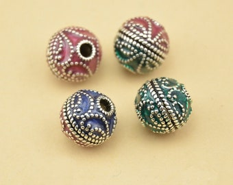 10mm 925 Sterling Silver Glaze Bali Ethnic Beads / Findings / Spacer,Jewelry making findings,Colorful Beads