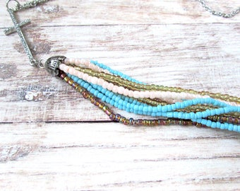 Boho Beaded Tassel Necklace - Cross Necklace - Everyday Jewelry - Gifts for Her - Girlfriend Gifts Under 30 - Long Necklace - Fringe