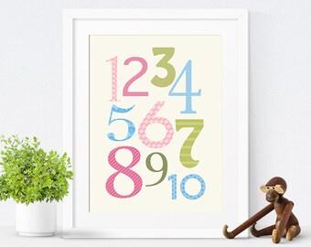Baby Girl Nursery, Printable Nursery Decor, Printable Nursery Poster, Kids Wall Art, Pink Nursery, Numbers Poster