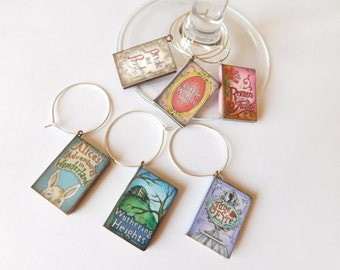 Classic Novel Wine Glass Charms - Book Lover's Gift - Book Club - Girl's Night In - Party Favor - Set of 6