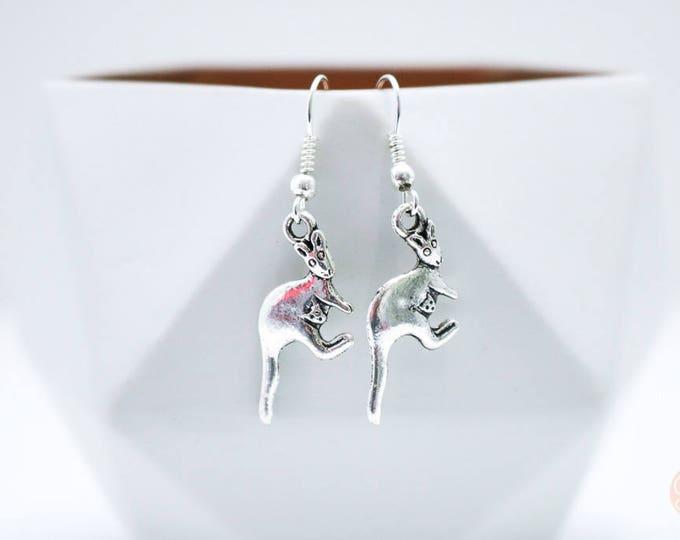 Australian Kangaroo Silver Drop Earrings.
