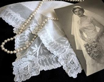 Vintage Heirloom Allencon Lace Bridal Handkerchief - Lace Handkerchief - Bridal Hanky - Heirlooms - Vintage Lace - Vintage Wedding - Gifts