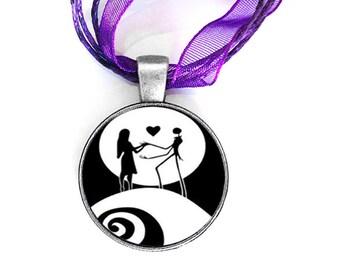 Love conquers all, purple organza cord pendant