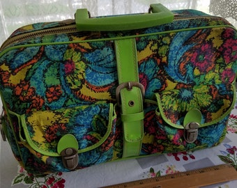 Holiday Fair Mod Suitcase Handbag Train Case