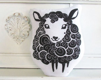 Sheep Shaped Animal Pillow.  Hand Woodblock Printed. Choose Any Color. Made to Order.