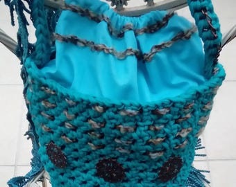 Handbag teal blue jersey bucket bag; handmade, shoulder bag, vintage crochet bag, bucket bag, gift for her, original, unique, one-of-a-kind