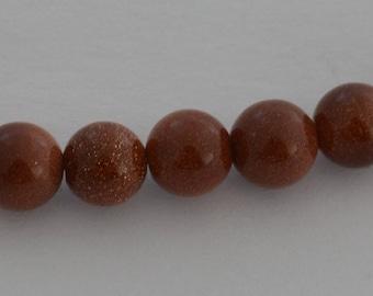 20 beads Gemstone round 10mm Brown sparkly - Ref: PG 2015