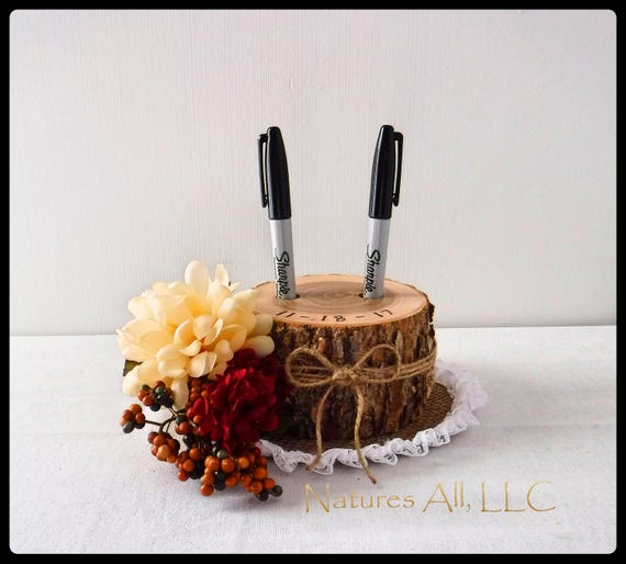 Pen Holder AND Burlap Lace Doily/Guest Book Pen Holder-Ash/Rustic Wood/Log Pen Holder/Rustic And Country Wedding Decor/Rustic Wedding Ideas