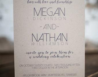 Wedding Invitation, Modern Wedding Invitation, Simple Invitation, Simple (Kraft) Wedding Suite : A7 Wedding Invitations