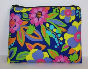 """Pipe Pouch, Tropical Floral Bag, Pipe Case, Pipe Bag, XL Zipper Bag, Stoner, Padded Pipe Pouch, Hippie, 420, Gadget Bag, 7.5"""" x 6"""" - X LARGE"""
