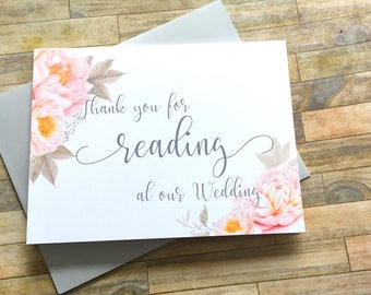 Wedding Reader Card - Gift for Reading at our Wedding - Thank you for Reading at our Wedding Thank You Cards - Bridal Party - PEACH PASSION