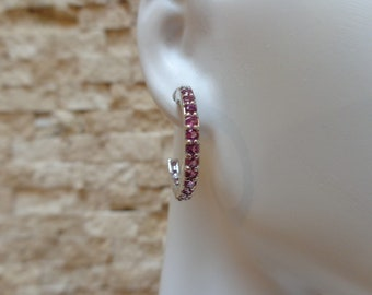 On Hold-Rhodolite Garnet and Sterling Silver hoop earrings
